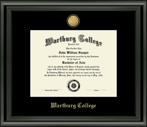 Diploma Frame: 23K College Seal, Midnight Frame