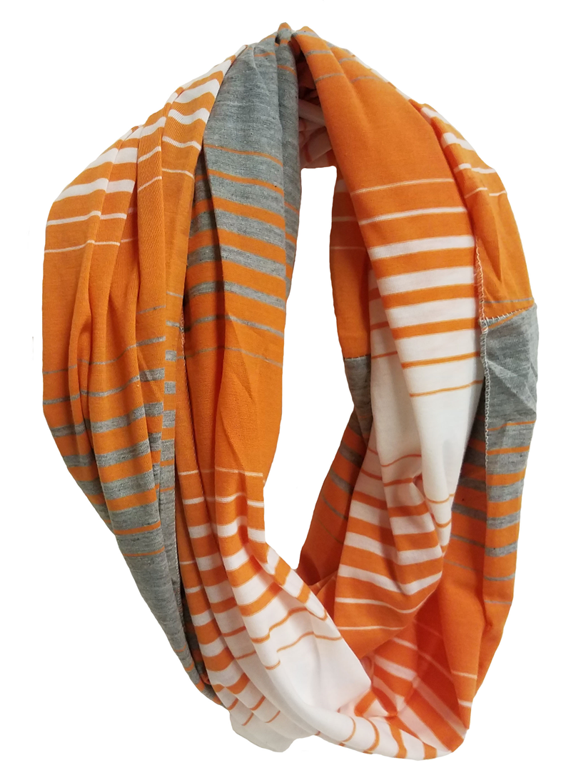 Scarf: Grey & Orange Infinity